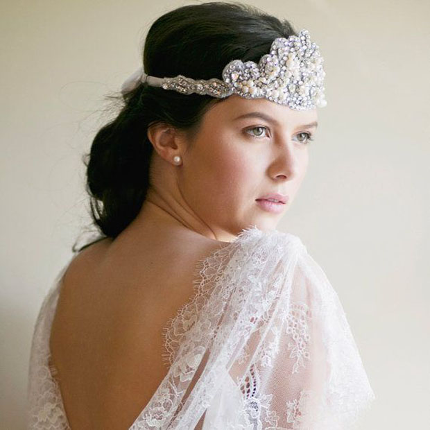 Bridal headband, 1920s forehead band, wedding headpiece, style Beatrice 1903