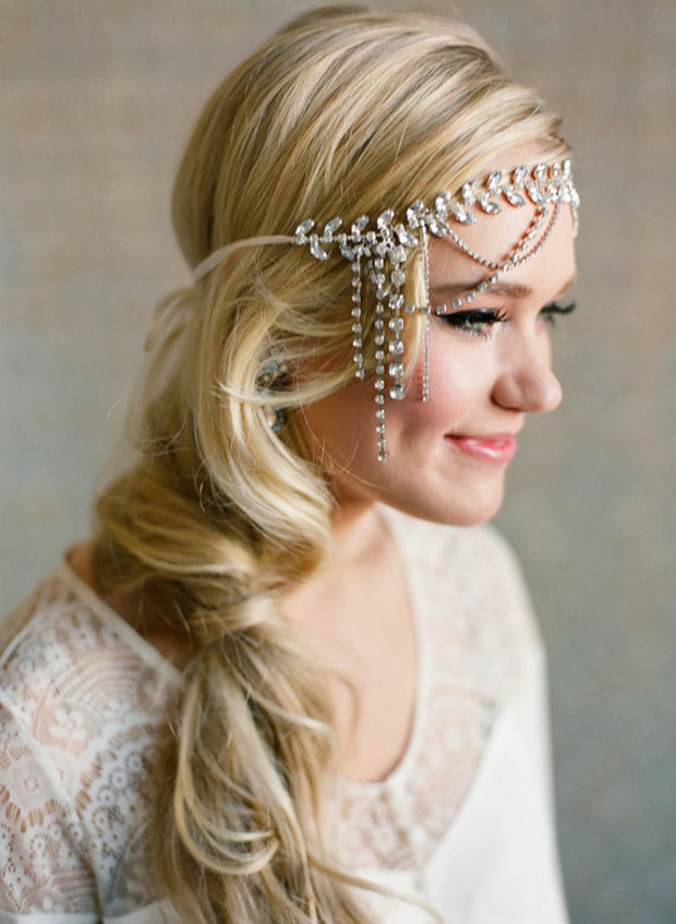 Crystal Leaf Halo Headband, flapper headpiece bandeau sparkle rhinestone princess bohemian 1920 vintage beach wedding forehead woodland