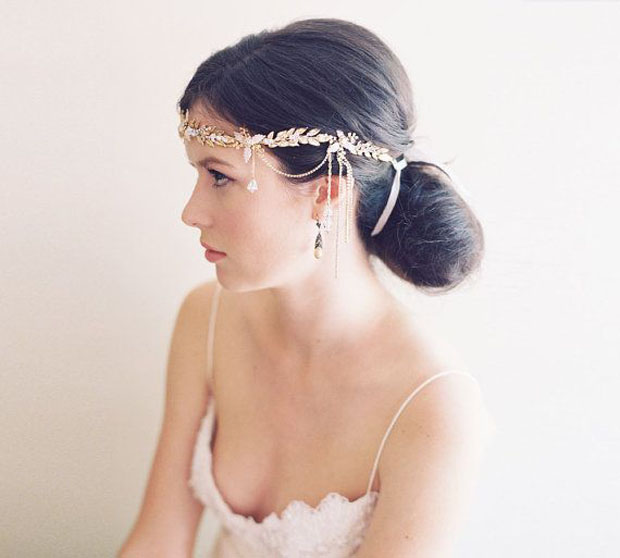 Crystal drop 1920s headband, laurel bridal crown - Alexandria no. 2030