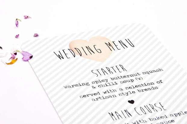 MINT STRIPE WEDDING MENU