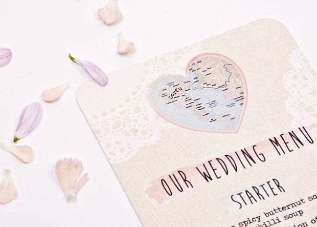 Map wedding menu