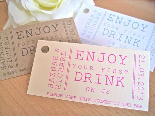 Personalised drink ticket token wedding favour tag, Vintage 1st drink token