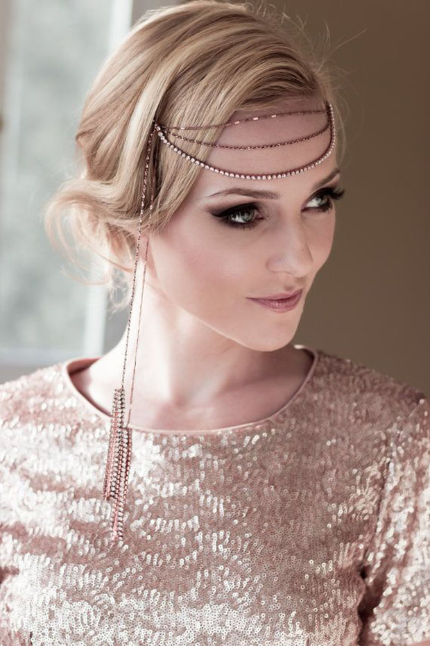art deco forehead band rose gold for weddings