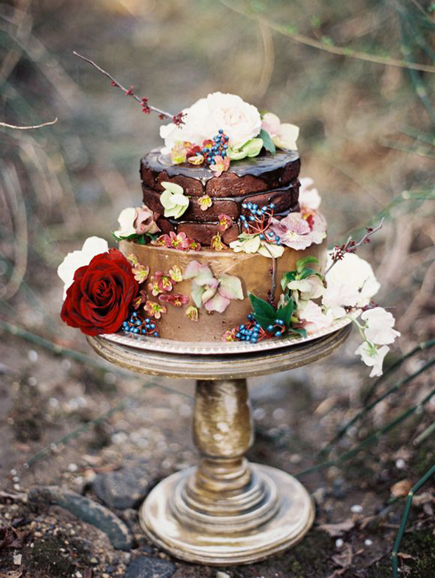 brown, copper and blue wedding cake