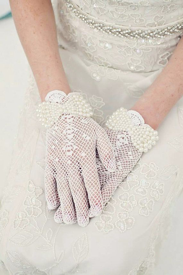 crochet wedding gloves with bow