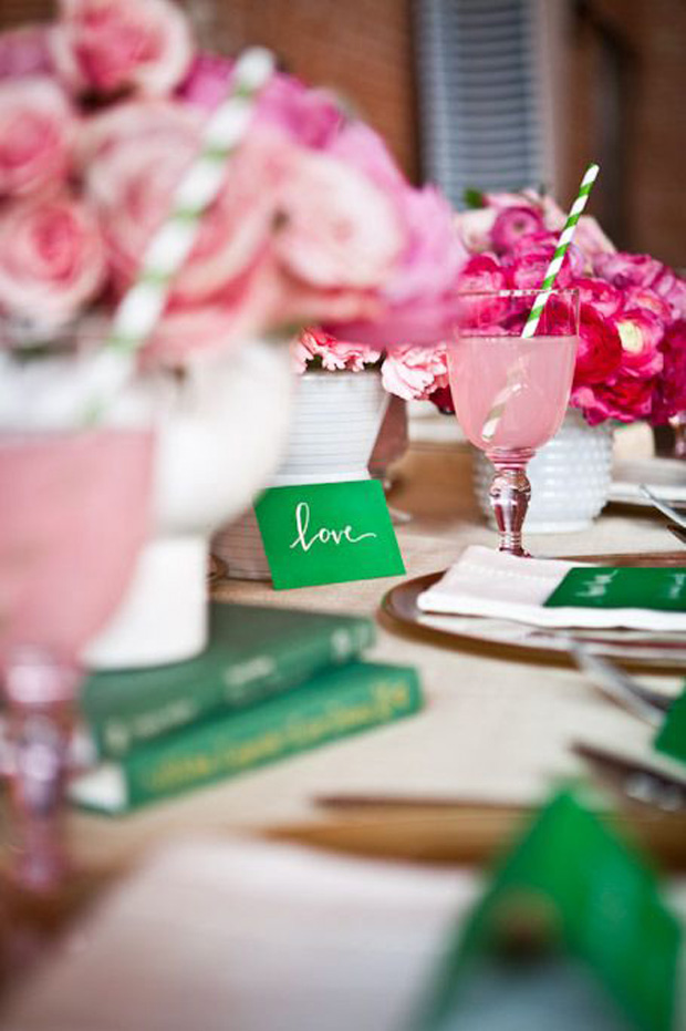 emerald green wedding stationery and pink blush flowers