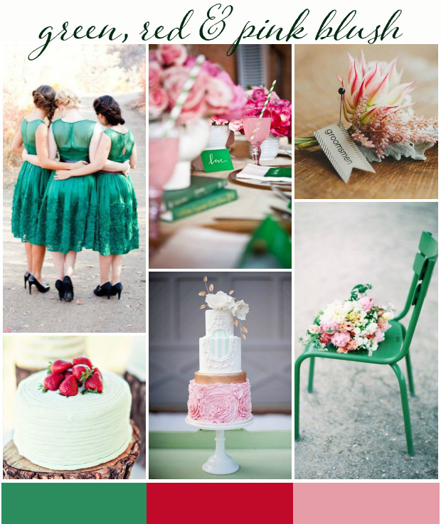 green, red and pink blush wedding inspiration