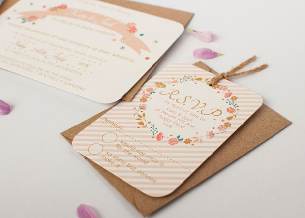 rustic country floral wedding invites