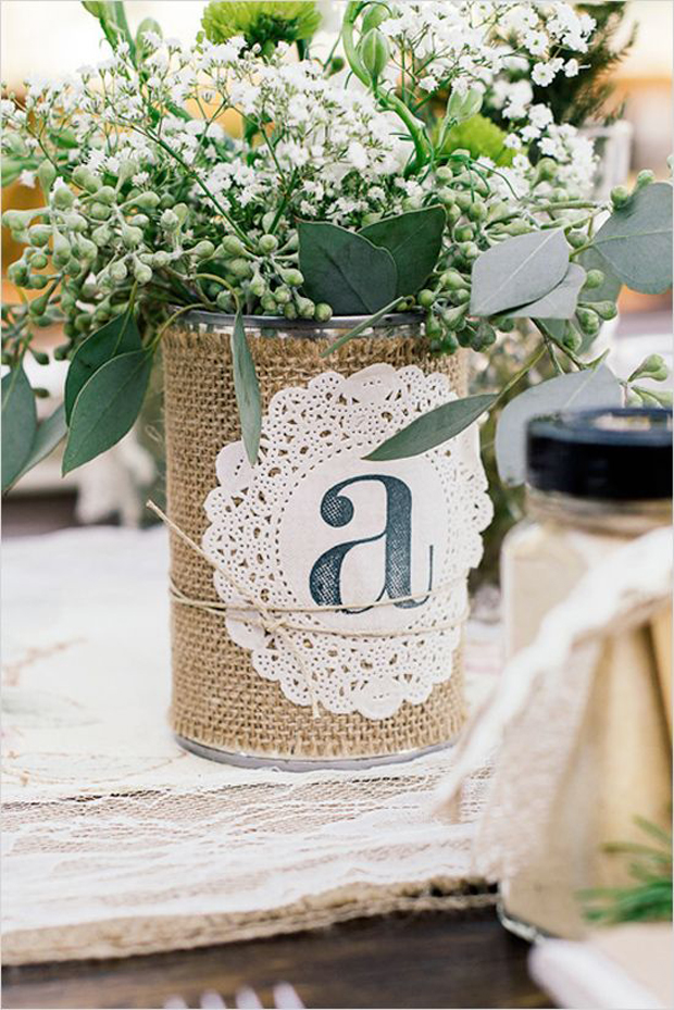 tin can with burlap and doily - tin can ideas for your wedding