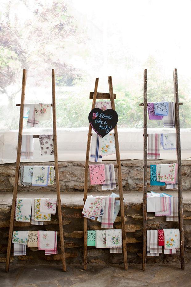 vintage handkerchief wedding favours