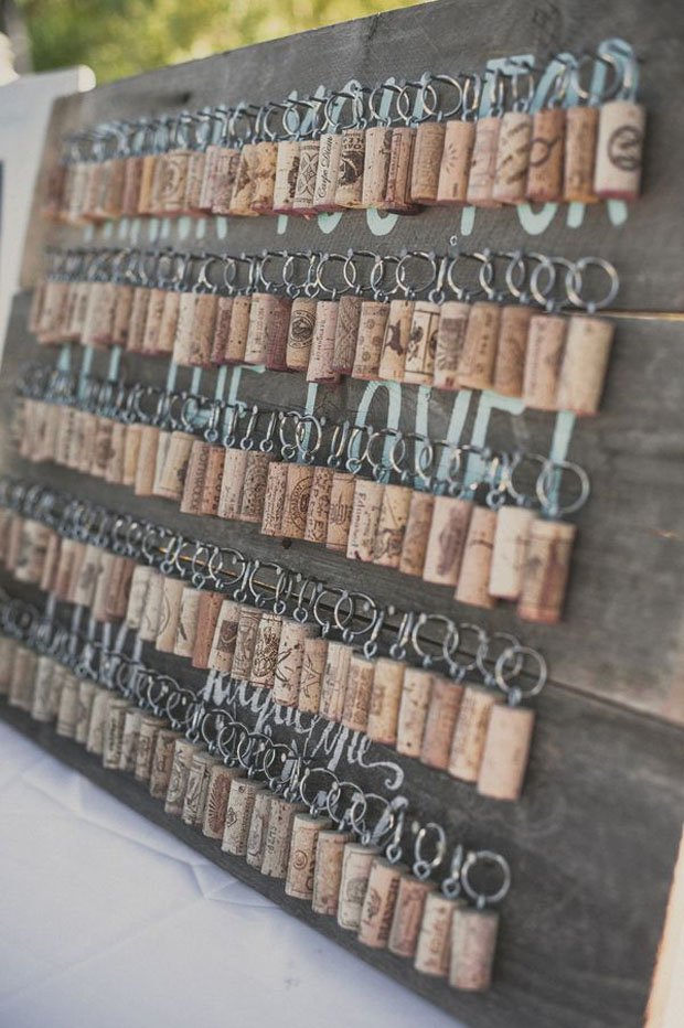wine cork key chain favors for guests
