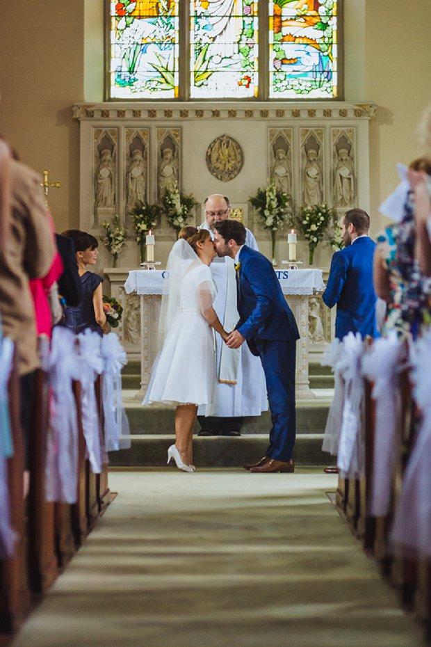Blue & Mustard Rustic Barn Wedding With 50s Wedding Dress_0026