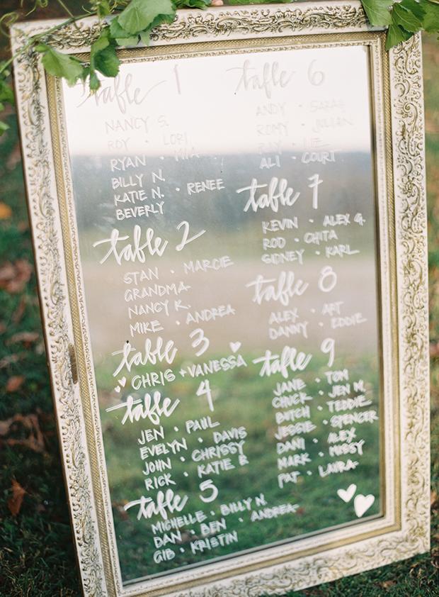 Mirror Seating Plan Wedding