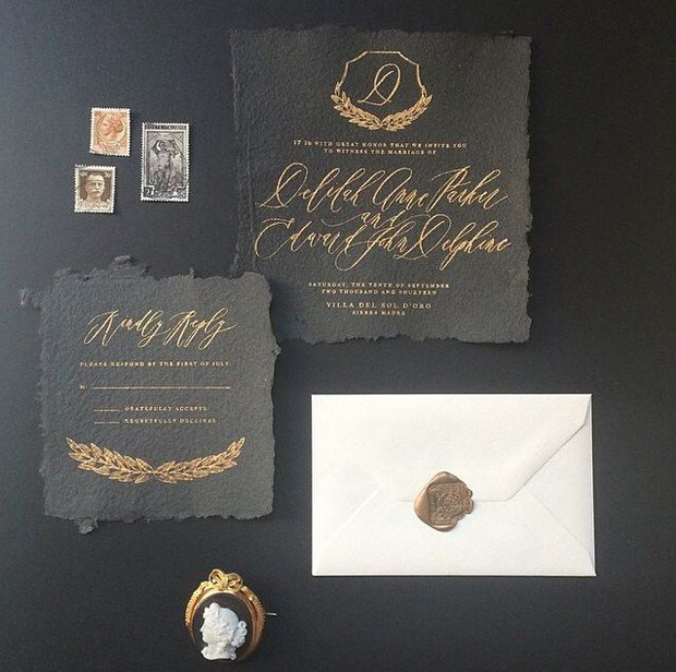 antique gold and black ink wedding calligraphy stationery