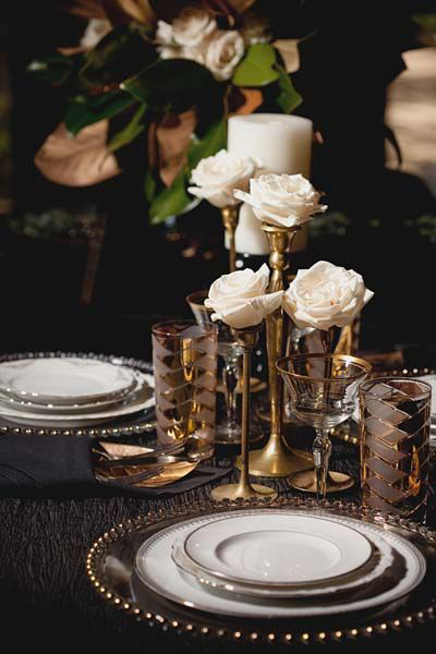 antique gold wedding table setting