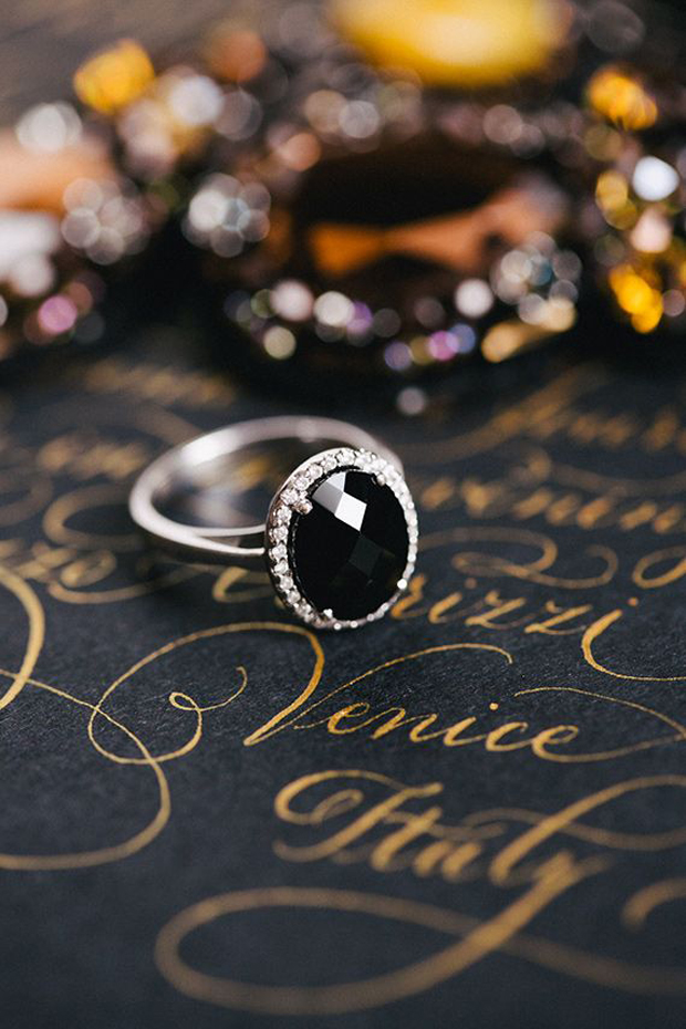 black diamond engagment ring and calligraphy