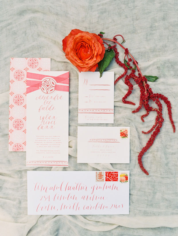 red salmon wedding stationery