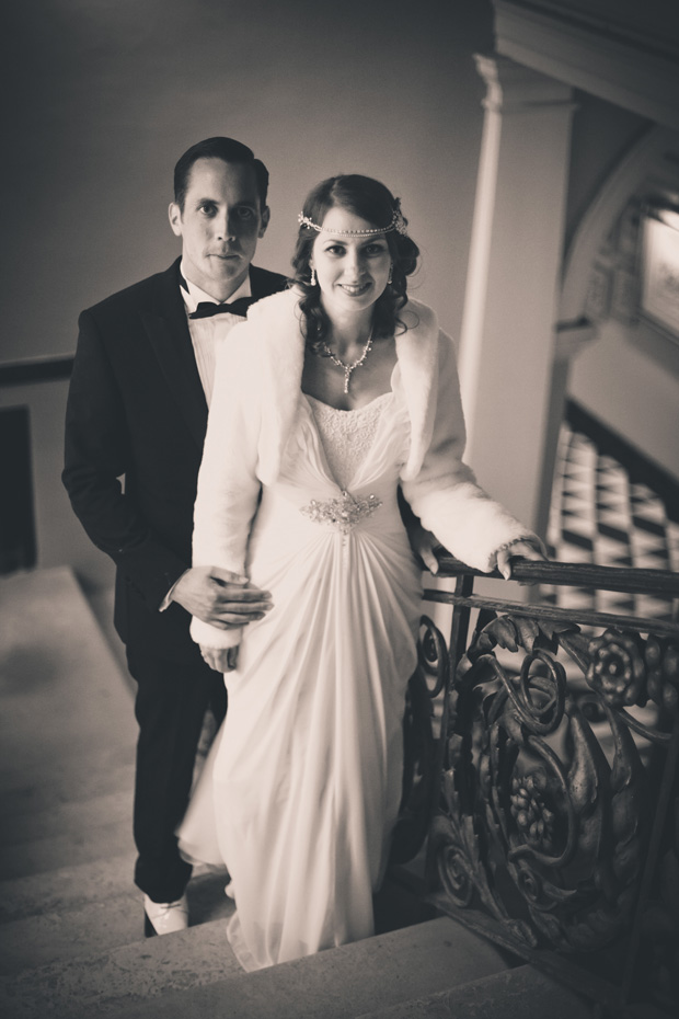 1920s Prohibition Style Safari Wedding - Black & White Shot