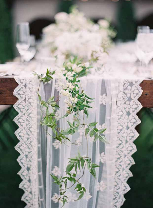 elegant white lace table runner for