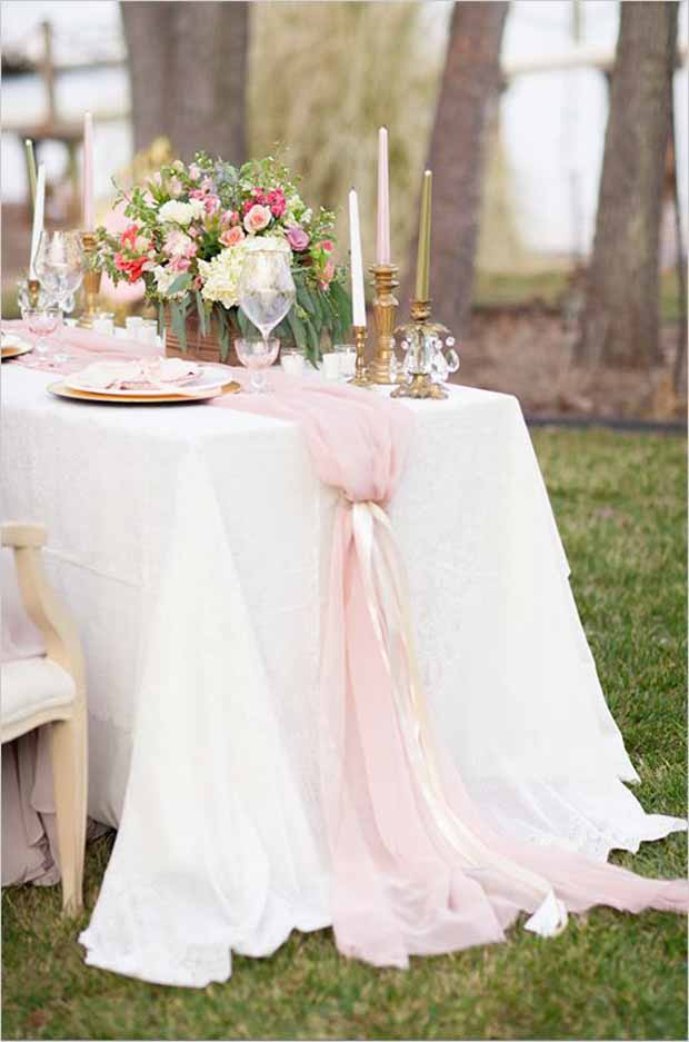 26 ridiculously pretty seriously creative wedding table - Table runner decoration ideas ...