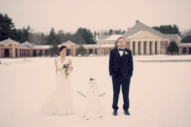 Amazing Woodsy Winter Wedding, Complete With Snowman