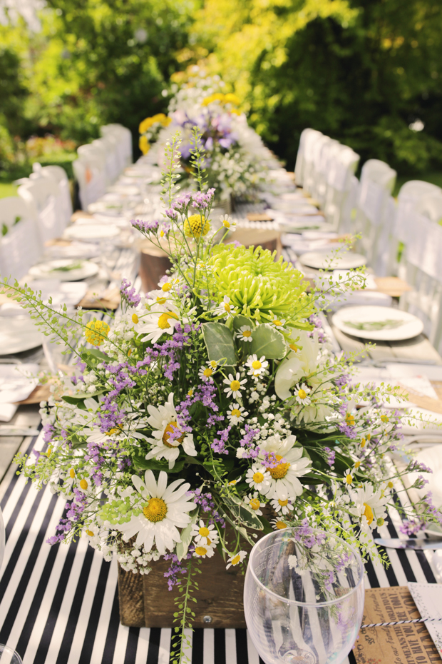 Black & White Stripes With Contrasting Floral Theme Real Weddng (39)