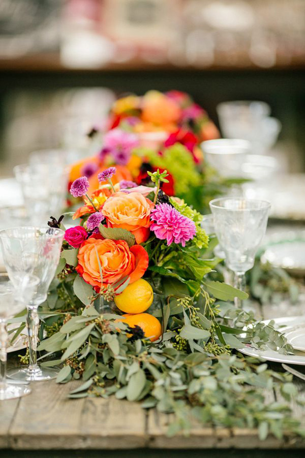 Citrus coloured wedding flower runners