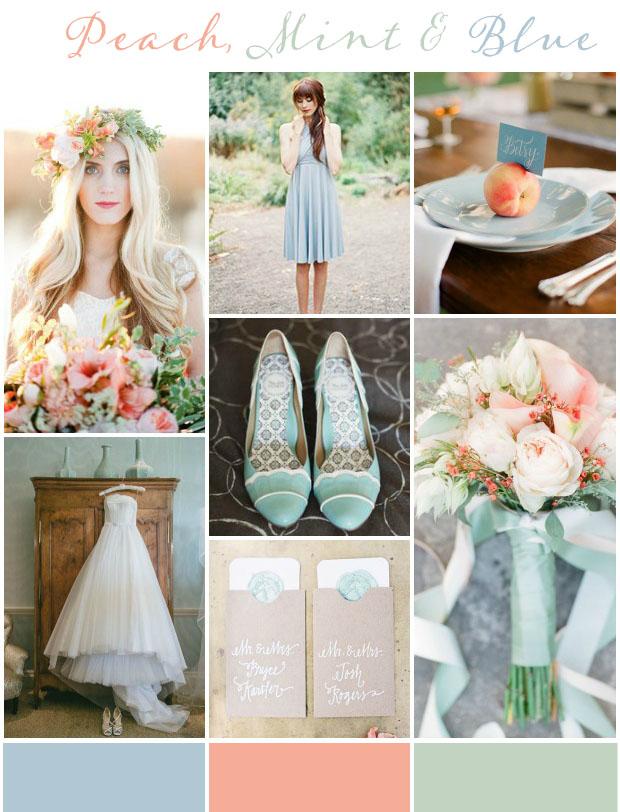 Peach Mint Blue Wedding Ideas Inspiration