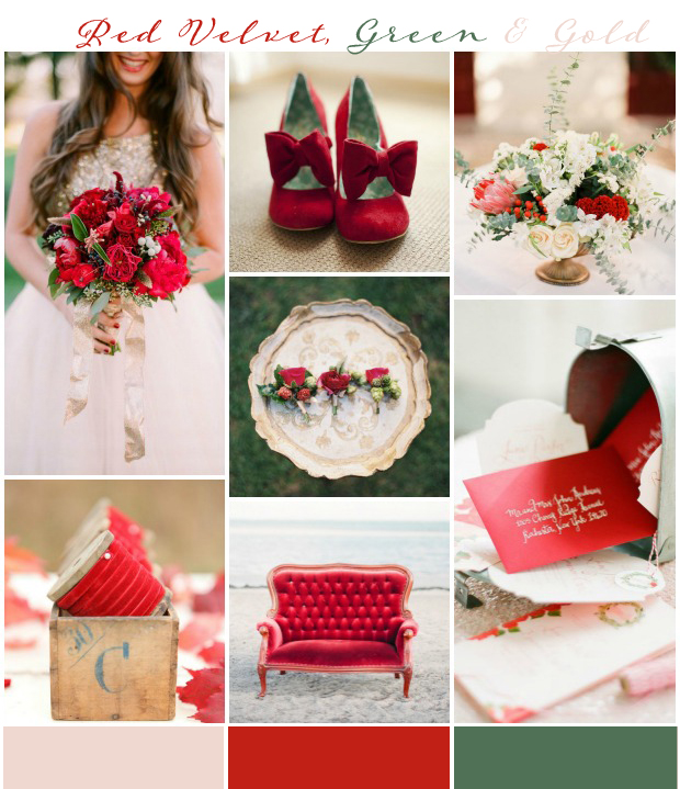 Red velvet, gold and green wedding inspiration and ideas