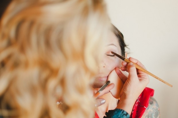 bride getting her make up done - image by sara adams