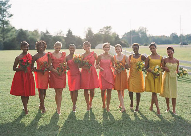 bridesmaid dresses in citrus coloured shades