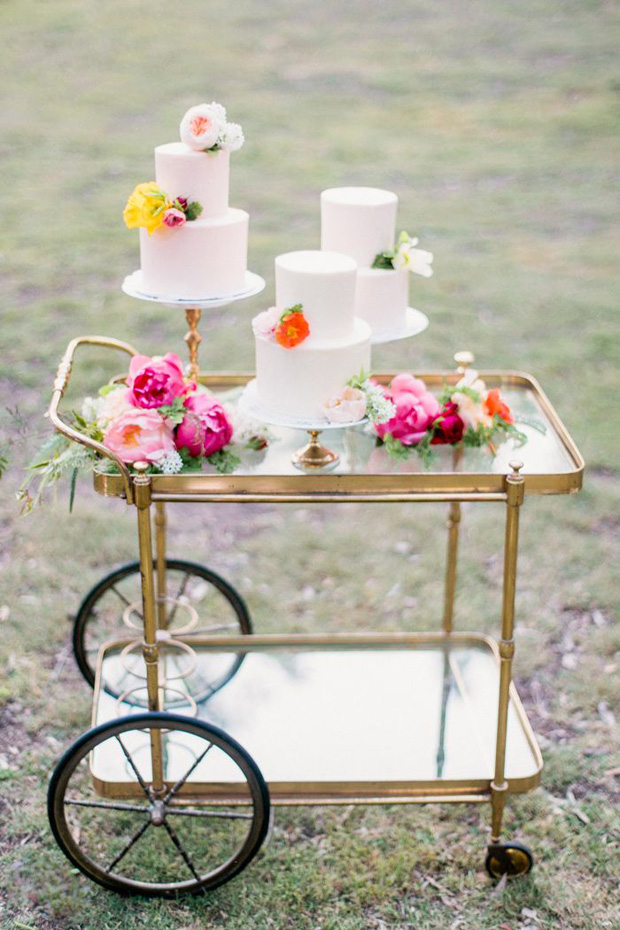 pretty wedding cakes with citrus coloured flowers