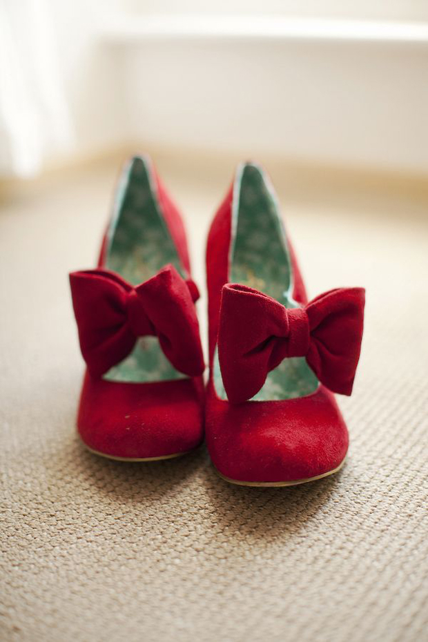 red velvet wedding shoes