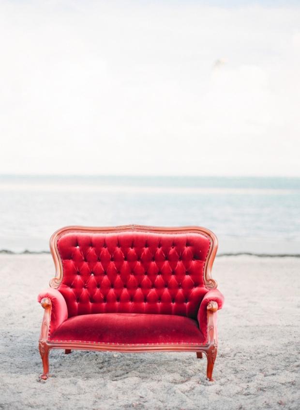 red wedding sofa