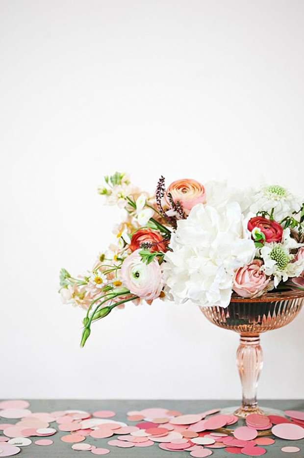 flower arrangement - pink influenced, beautiful antique pink glass vase