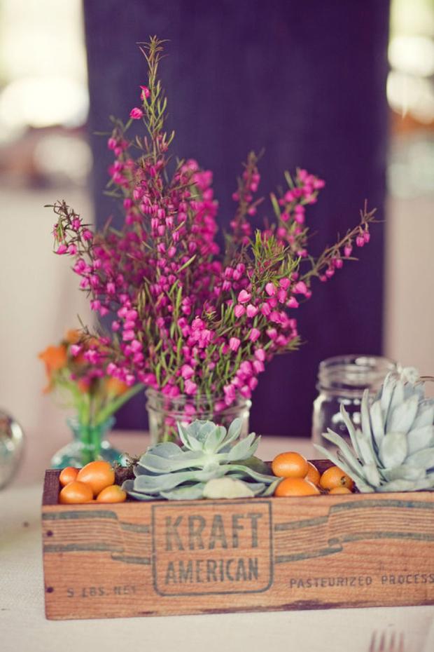 kraft box floral wedding centerpiece