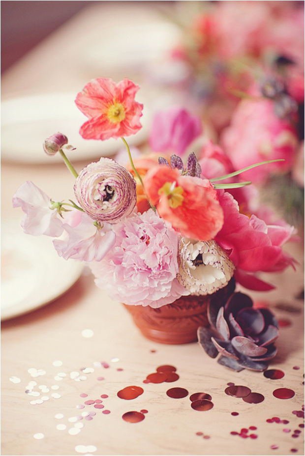 pretty terracotta floral centrepieces