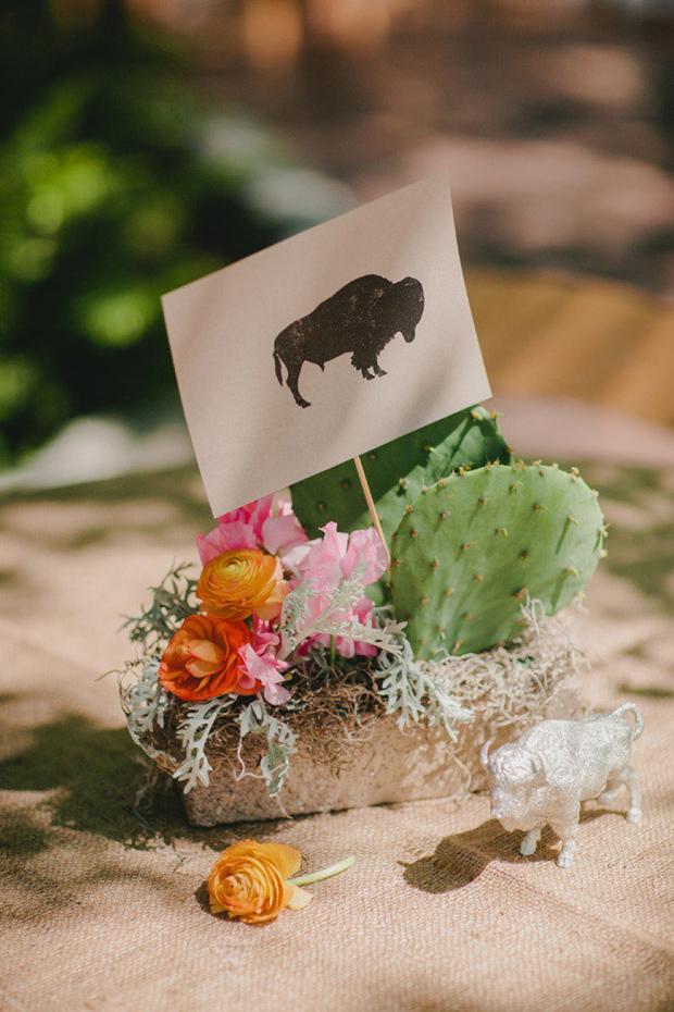 rustic mexican cactus centerpiece