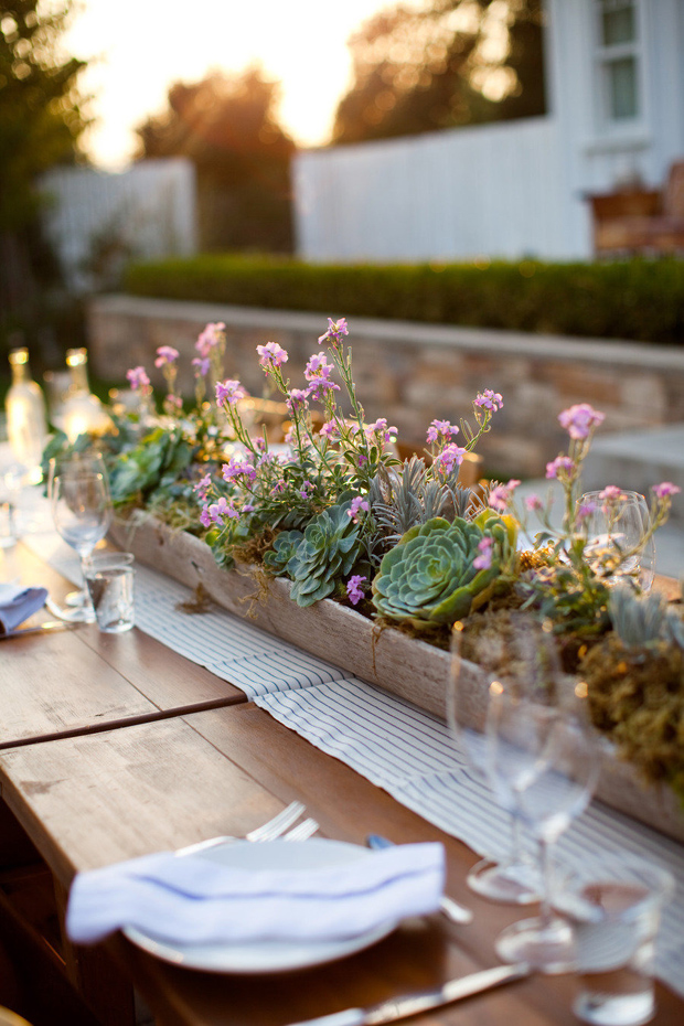 succulent in wooden trough centrepiece