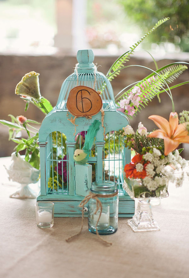 super bright wooden painted birdcages with florals