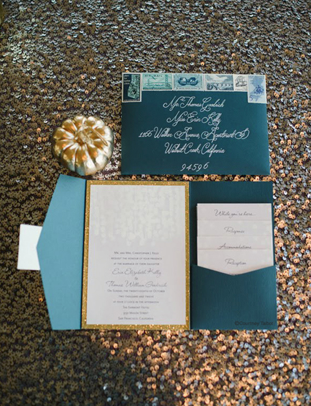 teal and gold sequin wedding stationery