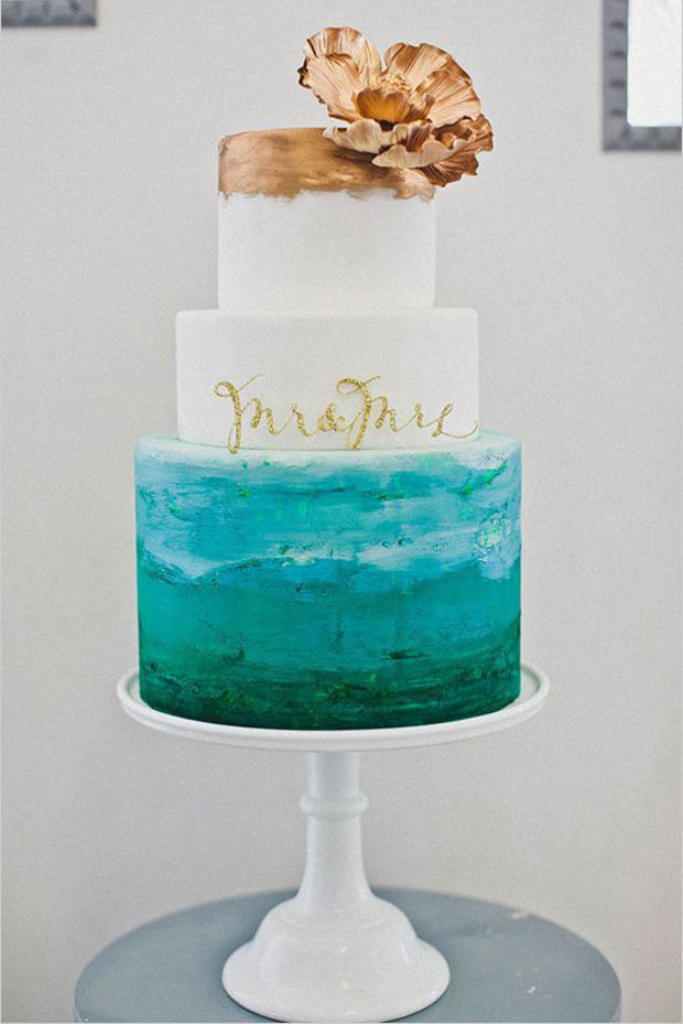 teal, emerald and gold wedding cake
