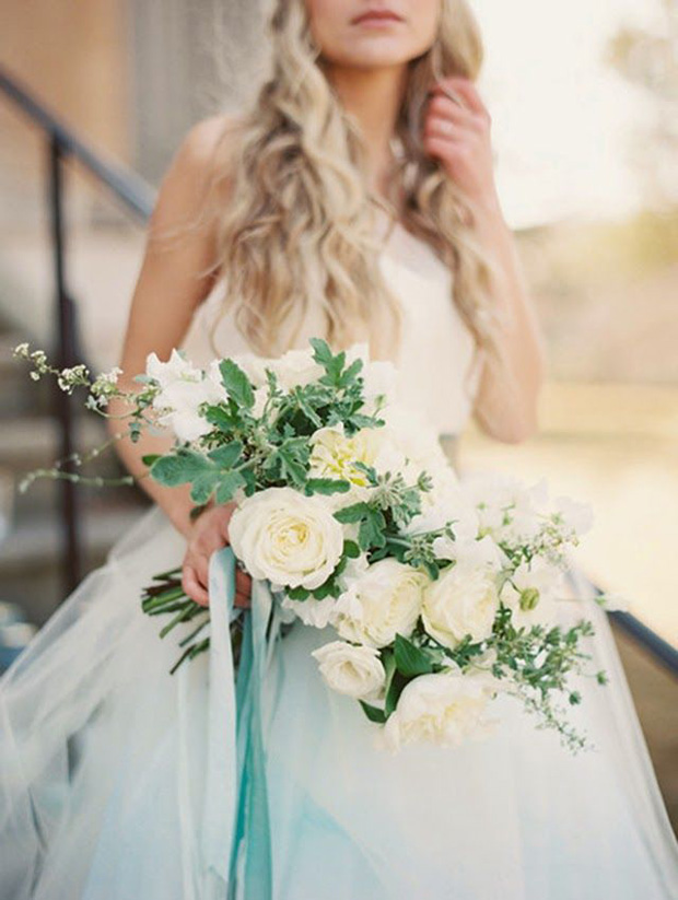 teal ribbons on wedding bouquet