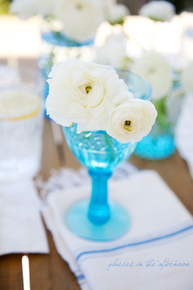 vintage aqua glass compote - used for a centerpiece
