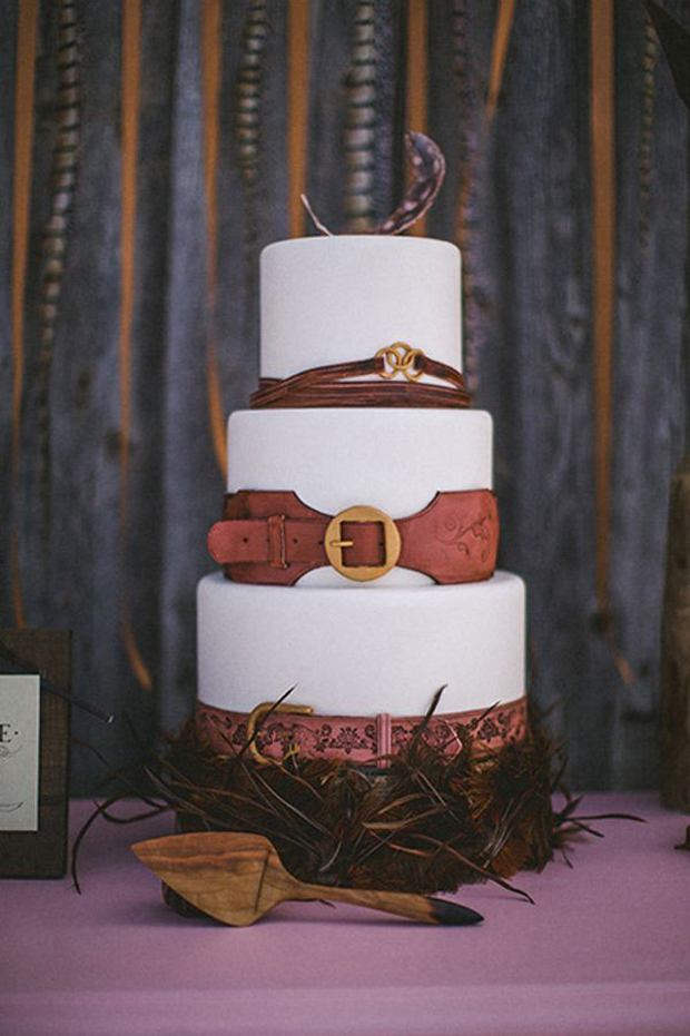 brown leather belts wedding cake