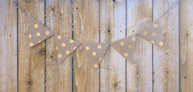 gold polka dot bunting