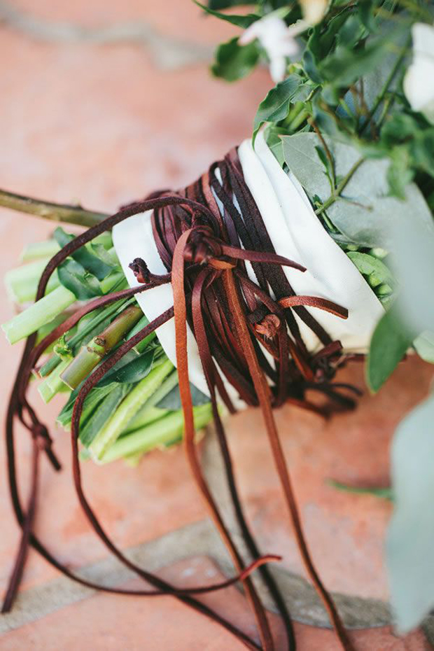 leather cord and fringing wedding bouquet