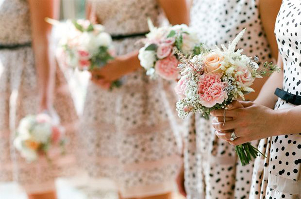 nude, blush and black polka dot bridesmaids