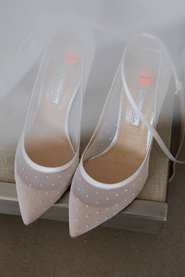 nude polka dot wedding shoes