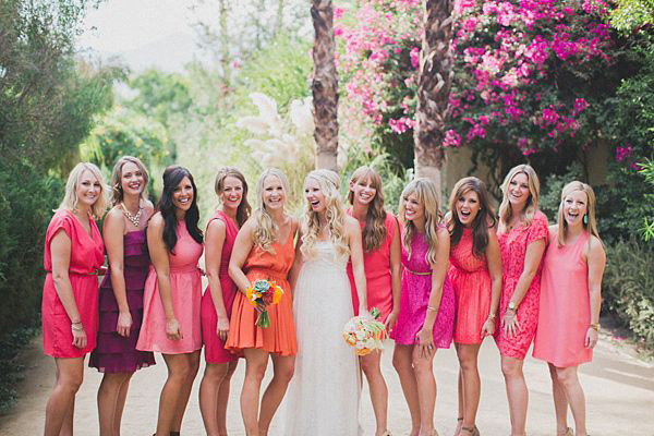 palm spring chic colourful bridesmaids